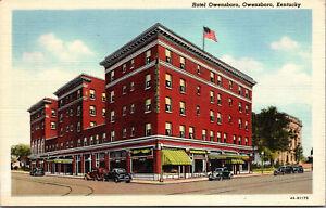 Vtg 1930's Hotel Owensboro Old Cars Owensboro Kentucky KY Linen Postcard