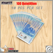 New 10x Zimbabwe 100 Quintillion Dollar Banknote Color Silver Bill Rock COA