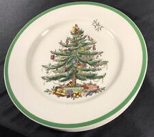 """Five Spode China CHRISTMAS TREE Green Trim 10.5"""" Dinner Plates, England Ex. Co"""