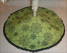 """Tabletop Halloween Tree Skirt ~ 22"""" ~ Lime Green with Black Spiderwebs"""
