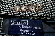 POLO RALPH LAUREN Soft Tweed Blazer 44L Houndstooth Windowpane Wool Made USA