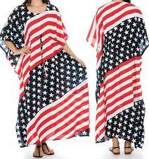 American Flag Dress Caftan Kimono Sleeve Kaftan Beach Coverup Long Maxi One Size