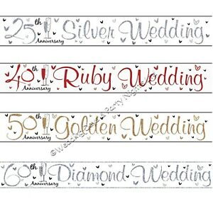 9ft Holographic Sparkly Foil Wedding Anniversary Banner Party Wall Decorations E