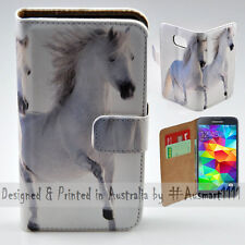 Wallet Phone Case Flip Cover for Samsung Galaxy S5 Two White Horses Illustration