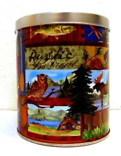 "Rustic Retreat Cabin Lodge 6"" TIN Canister Round"