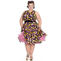 Hell Bunny Natalie VINTAGE Roses FLORAL SWING DRESS ABITO PLUS SIZE Rockabilly