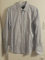 Pronto uomo Mens Size 17 36/37 TALL White/Blue Striped Button Down Dress Shirt