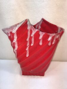 Vtg Mid-Century Hollywood Ceramics CA Red White Drip Swirl Pottery ART VASE