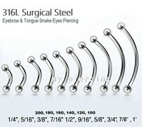 20g, 18g, 14g, 12g, 10g Steel Curved Eyebrow Barbell Tongue Snake-Eyes Piercing