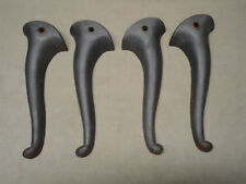 """4 Vintage Ornate Cast Iron Legs 10 1/4"""" Queen Anne Style Bench or Coffee Table"""