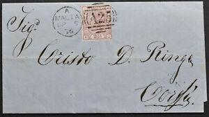 MALTA 1876 Auslandsbrief nach CORFU mit britischer Frankatur 2 1/2 P