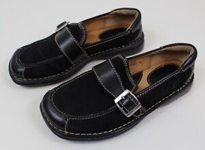 Born Size 7 Black Suede & Leather Loafer Flat Slip On Buckle Shoes Women's