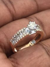 Gorgeous 0.81 Cts Round Brilliant Cut Natural Pave Diamonds Ring In 14Karat Gold