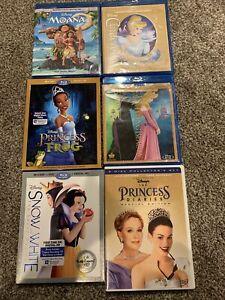 Disney Princess 6x Blu-ray DVD movie lot Moana Snow White Cinderella Sleeping Be