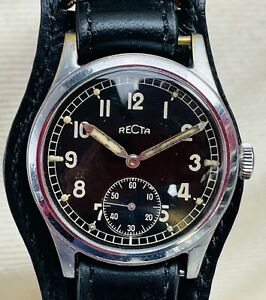 Vintage Recta Military WWII Gloss Gilt Dial Wristwatch