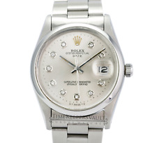 Rolex Oyster Perpetual Date 1500 Silver Diamond Dial 34mm Watch