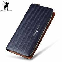William POLO Men's Genuine Leather Zip Around Long Purse Mens Wallet Money Clip