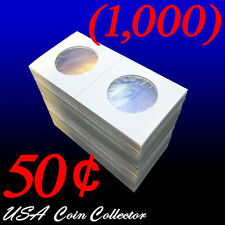 (1000) Half Dollar Size 2x2 Mylar Cardboard Coin Flip for Storage   50 Cent Bulk