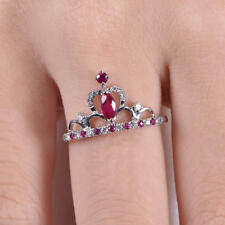 1.4ct Marquise Cut Pink Ruby Crown Promise Engagement Ring 14k White Gold Finish