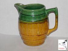 Majolica Jug Water Pitcher Keg Barrel Form c1891-1921 Green & Yellow Ochre Glaze