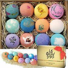 Bath Bombs Gift Set 12 LifeAround2Angels Dry Skin Moisturize Perfect Bubble&Spa