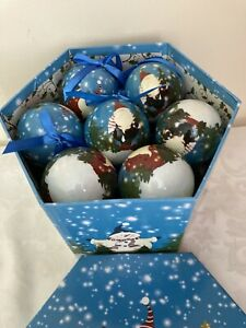 14 Father Christmas Workshop  Decoupage Tree Decorations Baubles Multi-coloured