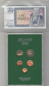 1981 ICELAND PROOF ROYAL MINT COIN SET, PLUS UNCIRCULATED 10 KRONUR BANKNOTE