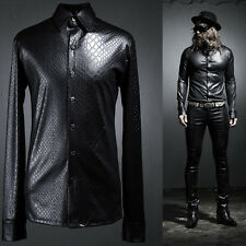 ByTheR Men's Black Slim Fashion Modern Python Pattern Press Span Shirts UK N