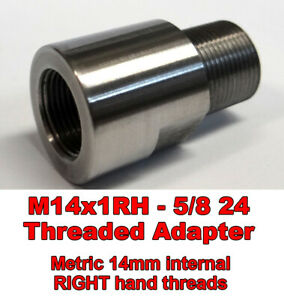 M14x1RH ID to 5/8-24 OD Threaded Adapter - Stainless Steel - Free Shipping !