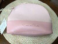 Oscar de la Renta Pink Cosmetic Bag Makeup Case Toiletry Travel Pouch Clutch NWT