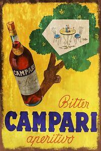 Campari Bitter Aperitivo Advert Vintage Look Retro Style Metal Sign, bar pub