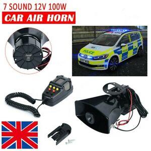 100W 12V 7 Sound Loud Car Alarm Police Fire Horn Siren PA Speaker MIC System UK