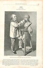 Buste Napoléon Bonaparte Modelé par Jean-Antoine Houdon Sculpteur GRAVURE 1888