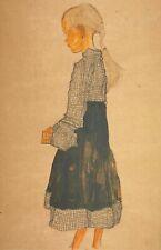 Egon Schiele, Little Austrian Girl, Hand Signed Lithograph