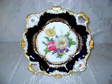 "14.5"" VG GERMAN BAVARIA AK KAISER COBALT BLUE GOLD PORCELAN HP PLATTER TRAY RARE"