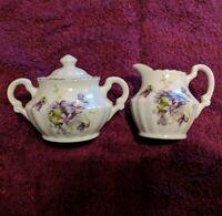 Vintage Individual Size Breakfast in Bed Porcelain Creamer & Sugar w/ Violets