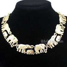 African Elephant & Baby Charms Link Ganesh Chain Collar Statement Bib Necklace