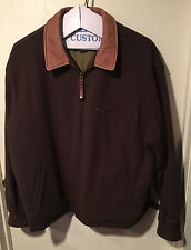 Vintage Woolrich Men's Brown Wool Coat Car Club Quilt Lined Cool Size XL RARE!