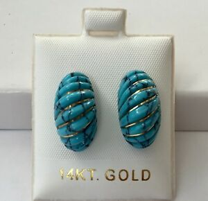 Solid 14K Yellow Gold Natural Turquoise Dome Stud Earrings NEW