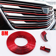 8M Red Trim Strip Car Bumper Protection Wheel Hub Ring Moulding Decoration Edge