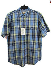 Mens Outdoor Life Shirt Size Large nwt Buttonfront blue yellow plaid western