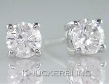 0.50ct Natural Diamond Solitaire Studs Brilliant Cut F Colour 18ct White Gold