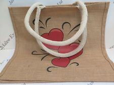 1 x Hessian Large Jute Bag Red Love Hearts Design L34xW38xD17cm JLH030
