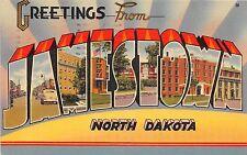 Large Letter postcard Greetings from Jamestown North Dakota ca 1948