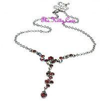 Deco Vintage Burlesque Actriz joven Glamur Rojo Granate Collar w/