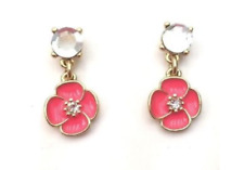 Kate Spade New York Crystal Pink Coral Gold Drop Dangle Earrings 0572