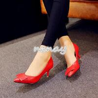 Womens Kitten Heels Shoes Pointy Toe Slip On Pumps Slim Heel Shoes Mary Janes SZ