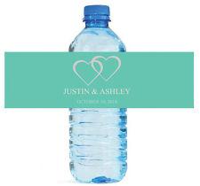 100 Modern Mint Water Bottle Labels Personalized Wedding Party Glossy Waterproof