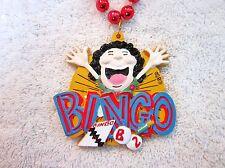 "WILD ""LADY YELLING BINGO"" MARDI GRAS NECKLACE BEAD CARD BALLS CASINO (B679)"