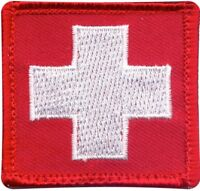 """Red Embroidered White Cross EMT Medic EMS Emergency Hook Patch 1 7/8"""" x 1 7/8"""""""